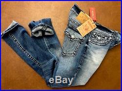 New True Religion Skinny Super T Stonewash Jean With Flap Size W30 $298