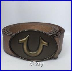 New True Religion Unisex Horseshoe Belt Leather Brown Brass 38 Distressed