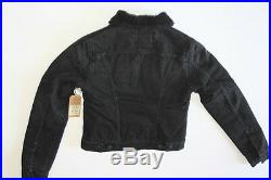 New True Religion Women Denim Sherpa Black Jacket Medium M