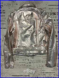 New True Religion Women Metallic Leather Moto Jacke 200140 $399 SizeXS S M