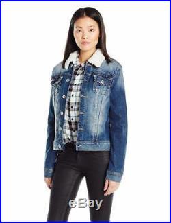 New True Religion Women's Premium Western Dusty Denim Sherpa Jacket WD080ZI7