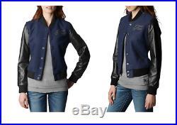 New True Religion Women's Richie Varsity Jacket Leather Wool $498 SizeXS S