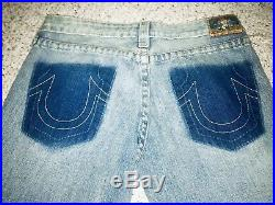 New True Religion Womens Denim Blue Jeans Size 29 Flare Wash Patch Ripped Torn