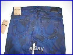 New Womens 29 True Religion Brand Jeans NWT Casey Skinny Blue Dark Houndstooth