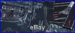 RARE! NEW Mens TRUE RELIGION BLACK GRAFFITI LOGO STRAIGHT CUT OFF SHORTS 33 $229