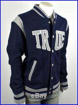 TRUE RELIGION $269 Men's True Navy Wool Varsity Jacket M6EH196FBT
