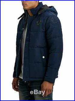 TRUE RELIGION Brand Jeans Men's Ace Blue Hooded Puffer Jacket 101389
