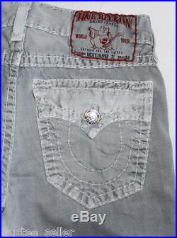 TRUE RELIGION Brand Mens Jeans Ricky Super T Tonal Stitch Seal Grey Pants