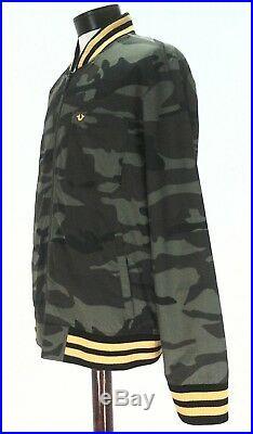 TRUE RELIGION Jacket Camo Bomber Olive Green WORLD TOUR Varsity Zip XL $269 New