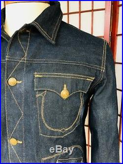 TRUE RELIGION Jacket Daltry Snake Eyes Retro Jacket Raw Denim Mens XXL NWOT