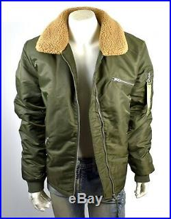 TRUE RELIGION Men's Military Green Nylon Bomber Jacket M19FC22A6G Size XXL