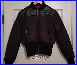 TRUE RELIGION NEW Womens BLACK DOWN Puffer JACKET SMALL LEATHER YOKE RIBBED