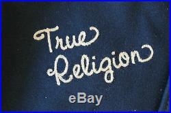 TRUE RELIGION RICHIE VARSITY Letter MALIBU Jacket M NWOT$598 Leather&Wool-Blue