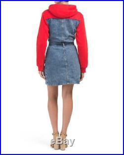 TRUE RELIGION Red/Blue Denim 2002 Sweatshirt Top withHood Button-up Dress New $169
