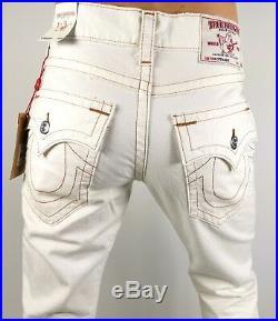 True Religion $229 Men's Hand Picked Red Orange Stitch Straight Jeans 100659