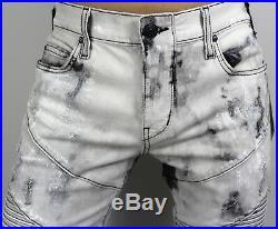 True Religion $249 Men's Geno Slim Straight Worn Bronx Moto Shorts MDAD091VO2