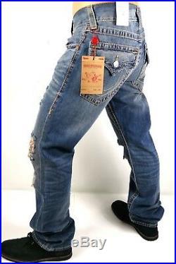 True Religion $249 Men's Hand Picked Straight Multi Big T Jeans -100117