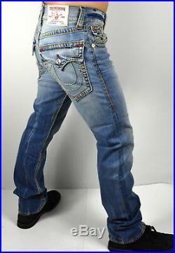 True Religion $249 Men's Hand Picked Straight Red Multi Big T Jeans 100093