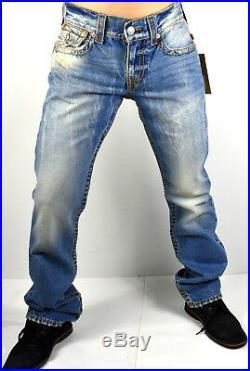 True Religion $249 Men's Hand Picked Straight Red Orange Big T Jeans 100027