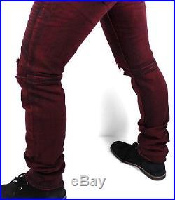 True Religion $249 Men's Moto Skinny Run Stitch Burgundy Jeans MAXH163EL