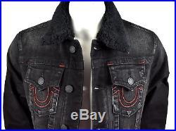 True Religion $269 Men's Sherpa Fur Slim Trucker Denim Jacket MAX3050ECU