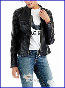 True Religion $279 Women's Vegan Faux Leather Moto Jacket WH8H191FDH