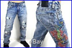 True Religion $299 Geno Slim Dragon Embroidered Jeans MDAJ19N20H