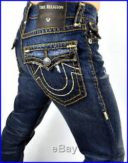 True Religion $299 Men's Geno Blue Orbit Multi Super T Slim Jeans 102219