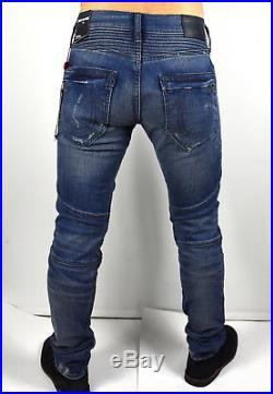 True Religion $329 Men's Rocco Skinny Metal Studded Moto Jeans MDAA90424J