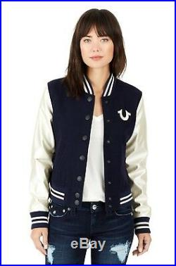 True Religion $329 Women's Horseshoe Varsity Wool Jacket WL9B348EYY
