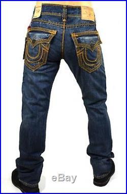 True Religion $349 Hand Picked Straight Red/Orange Mega Super T Jeans 100680
