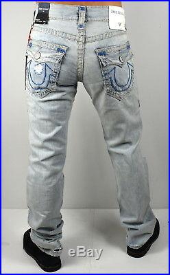 True Religion $369 Men's Ricky Torn Blue Optic Straight Super T Jeans 100365