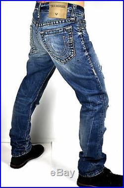 True Religion $379 Men's Geno Super T Slim Straight Distressing Jeans MJ19NYL2