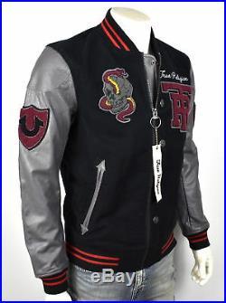True Religion $499 Collegiate Logo Patch Varsity Leather Jacket MSQAR4TF4