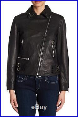 True Religion $599 Women's Studded Leather Moto Jacket/Coat WSQBJ5BH6