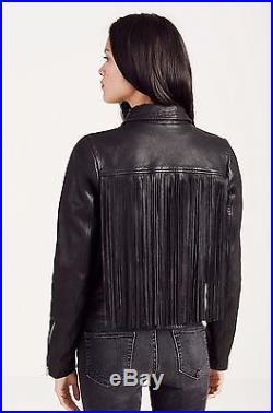 True Religion $659 Women's Fringe Leather Moto Jacket/Coat WD041YW0