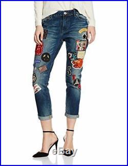 True Religion Audrey Blue Denim Jeans With Patches! New! Sz 27