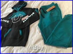 True Religion Black/Deep Teal Sweatsuit Sz Large Womens NWT $258