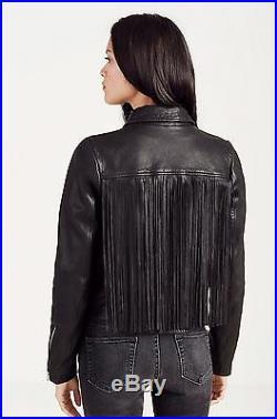 True Religion Brand Jeans Fringe Leather Moto Women's Jacket NWT