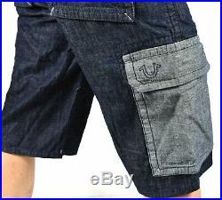 True Religion Brand Jeans Men's Indigo Body Rinse Denim Cargo Shorts 102022