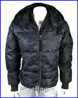 True Religion Brand Jeans Men's Midnight Camo Down Bomber Jacket/Coat M18FC17B1G