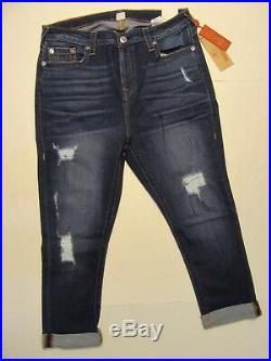True Religion Curvey Distressed SN Orange Ewid Eclipse Women Capri Size 36/25