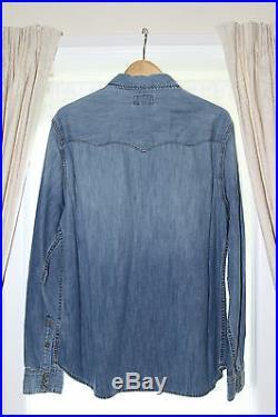 True Religion Jake Western Denim Shirt M20Y61MU8 BXNL Worn Stones BNWT / NEW