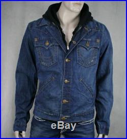 True Religion Jeans JOHNNY Denim hoodie Jacket layered Claim Jumper M179N98Y9