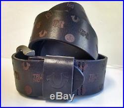 True Religion Jeans Men's Monogram Leather Belt Brown RUNS SMALL TUS150035