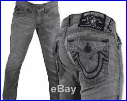 True Religion Jeans Men's Ricky Super T Ashland Gray black stitch M05859V56