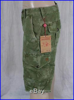 True Religion Jeans brand PLATOON cut off camo shorts trooper green MNNV17X94