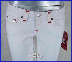 True Religion Jeans brand Stella contrast RED Super T Optic White W95592CA4