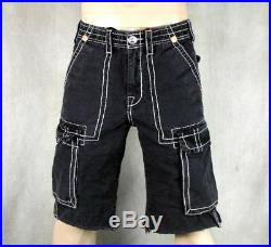True Religion Jeans men's ISAAC Cargo Shorts green or Black MAR841EH