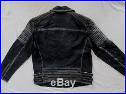 True Religion Leather Moto Biker Jacket- Distressed Black- Men's Med -NWT $499